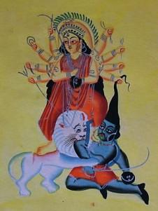 Durga and Mahishashura, Kalighat Style, c. 1880